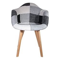 THE HOME DECO FACTORY Fauteuil Scandinave Patchwork, Polyester, Gris-Blanc, 64 x 57,5 x 85,5 cm
