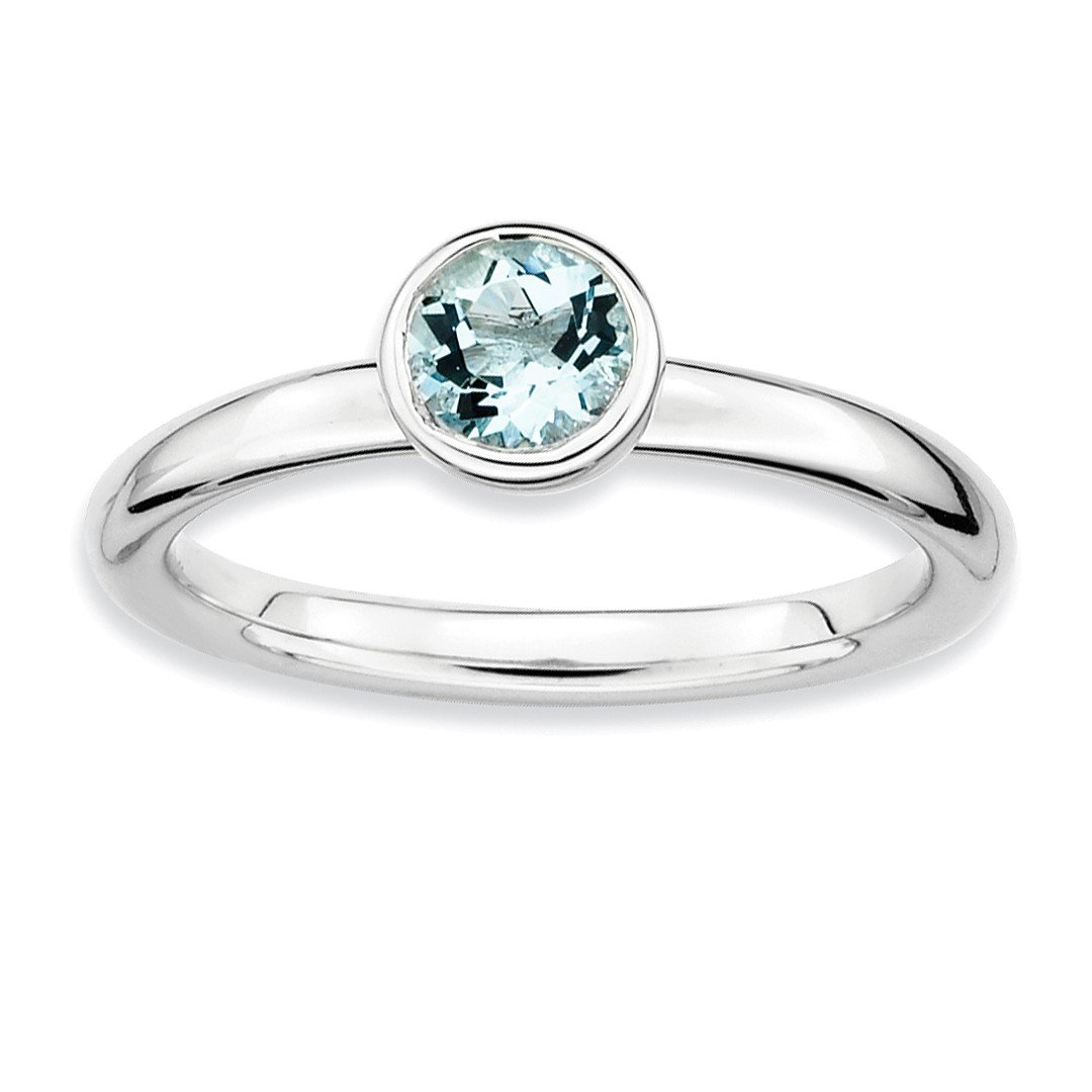 ICE CARATS 925 Sterling Silver Low 5mm Round Blue Aquamarine Band Ring Size 7.00 Stackable Gemstone Birthstone March Fine Jewelry Ideal Gifts For Women Gift Set From Heart
