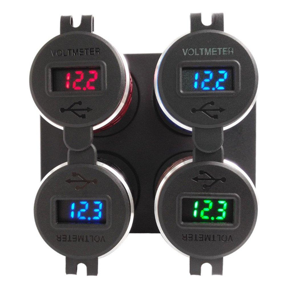 Sixcup/® 4.2A Aluminium Motorrad Dual USB Ladeger/ät DIN Buchse Voltmeter f/ür Hella//DIN oder f/ür BMW Motorrad Wasserdicht Quick Charge USB Steckdose Blau