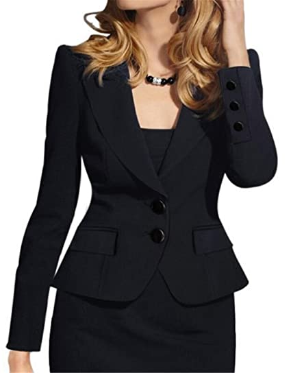 07204a366d8 JXG Women Long Sleeve Solid Color Casual Work Office Blazer Jacket at  Amazon Women s Clothing store