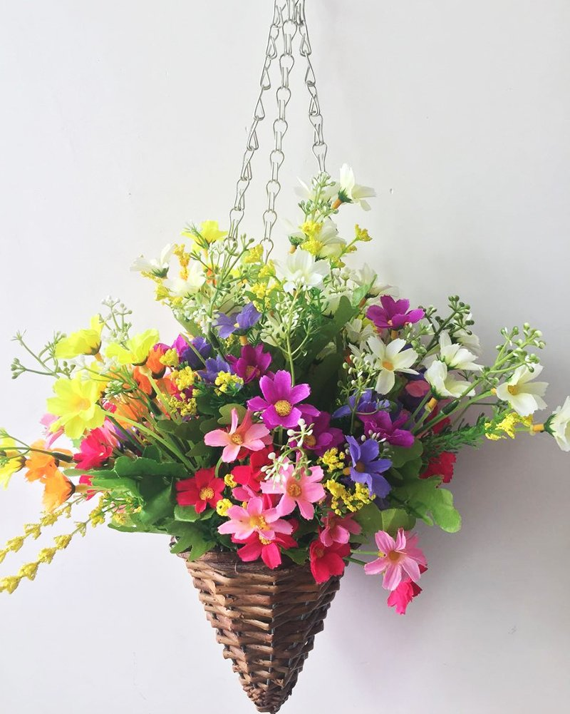 Lopkey Lifelike Artificial Daisy Flowers Outdoor Silk Daisy Indoor Patio Lawn Garden Mini Hanging Basket with Chain Flowerpot