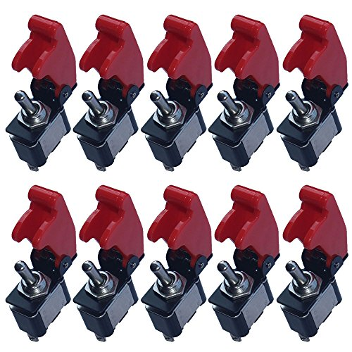 ESUPPORT 12V 20A Red Cover Rocker Toggle Switch SPST ON/Off Car Truck Boat 2Pin Pack of 10