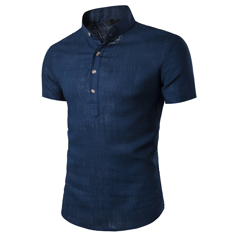Men's Shirts,Casual Short Sleeve Slim Fit Sloid Shirts Tops for Men by Nevera