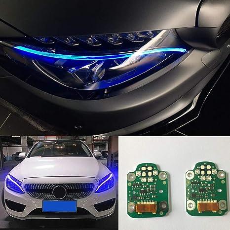 Juego de 2 faros delanteros para coche, luces de circulación diurna, luces LED azules