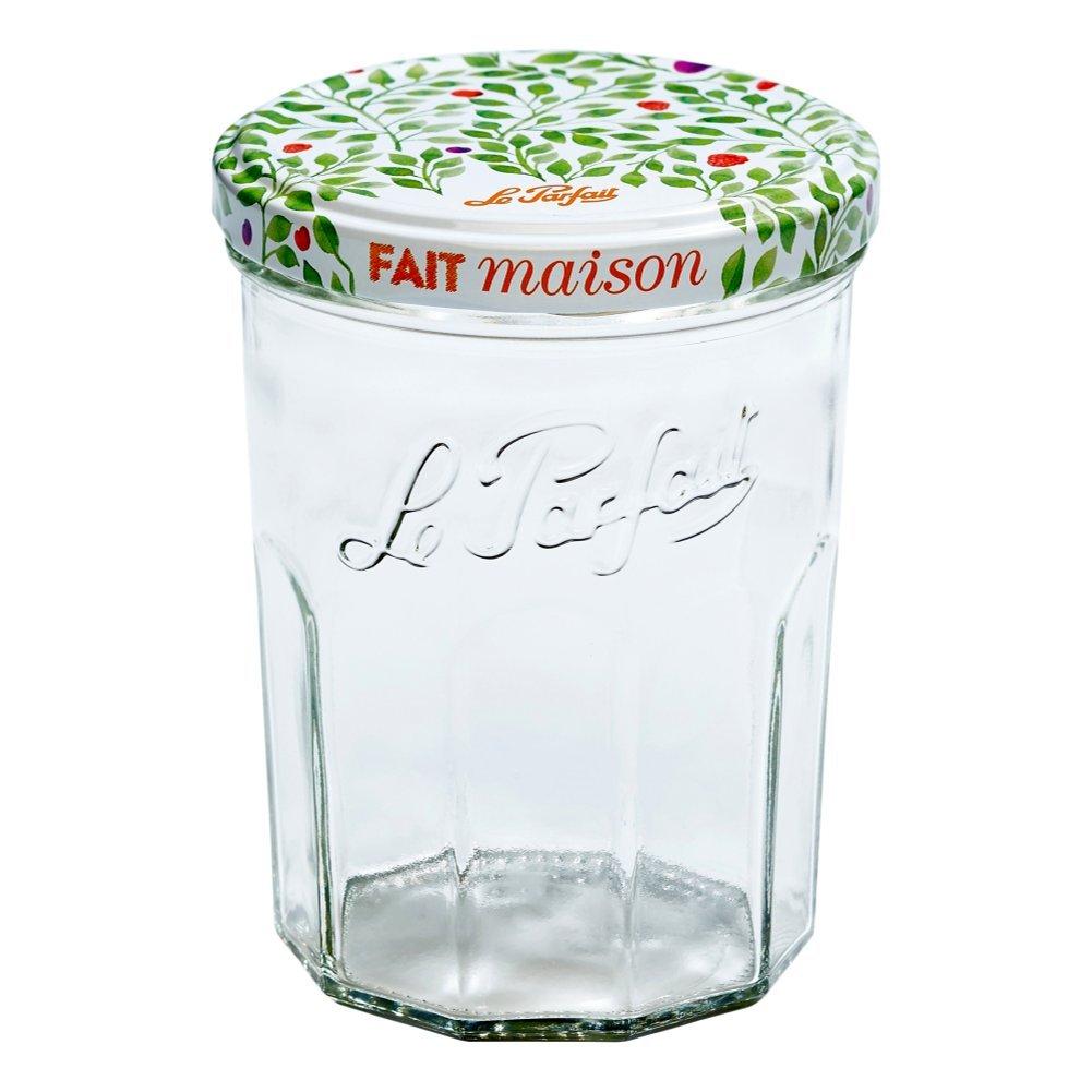 6 Le Parfait Jam Jars - Faceted French Glass Jelly Jars - Preserve, Store, Serve, Décor (6, 385ml - 13oz - Berry)