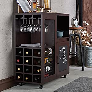 Amazon Com Vintage Industrial Home Bar Cabinet Mobile