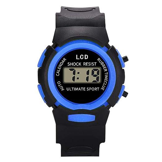 Reloj Infantil Analógico Digital Relojes Led Electronico Reloj De Pulsera Impermeable Kelry (Azul)