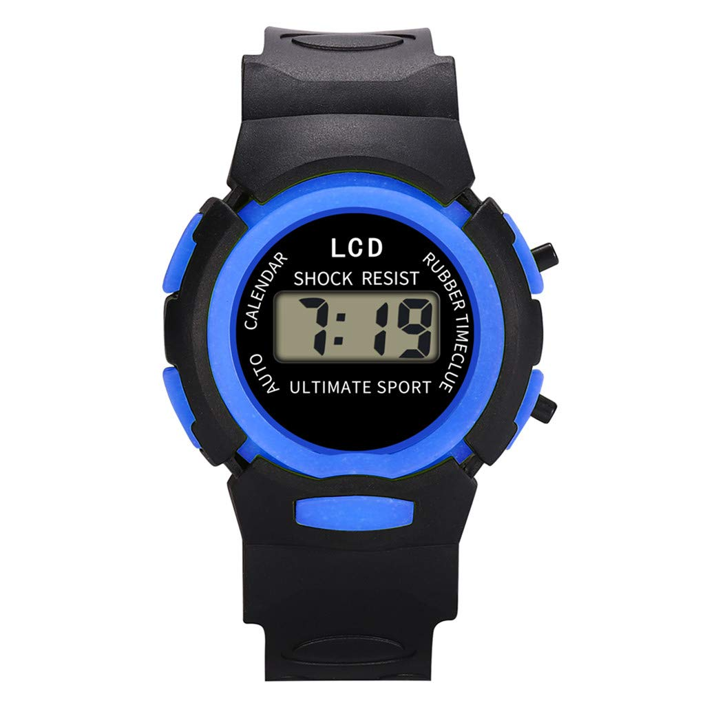 XBKPLO Kids Watch,Digital LED Sport Watches Concise Boys Girls Waterproof PU Resin Strap For Age 5-16 Child (Blue)