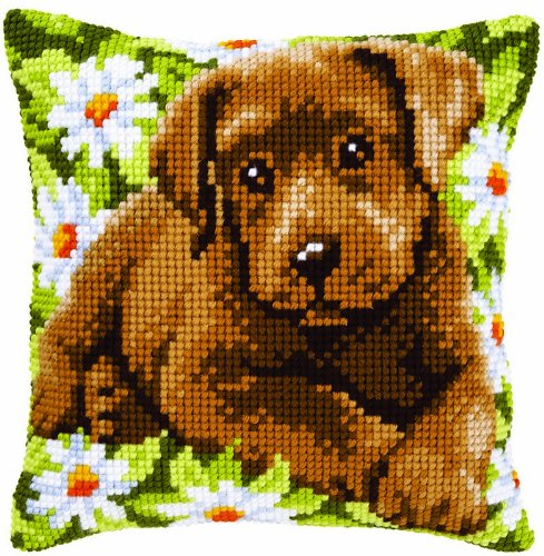 py in a Field of Daisies Needlepoint Kit (Puppy Needlepoint Kit)