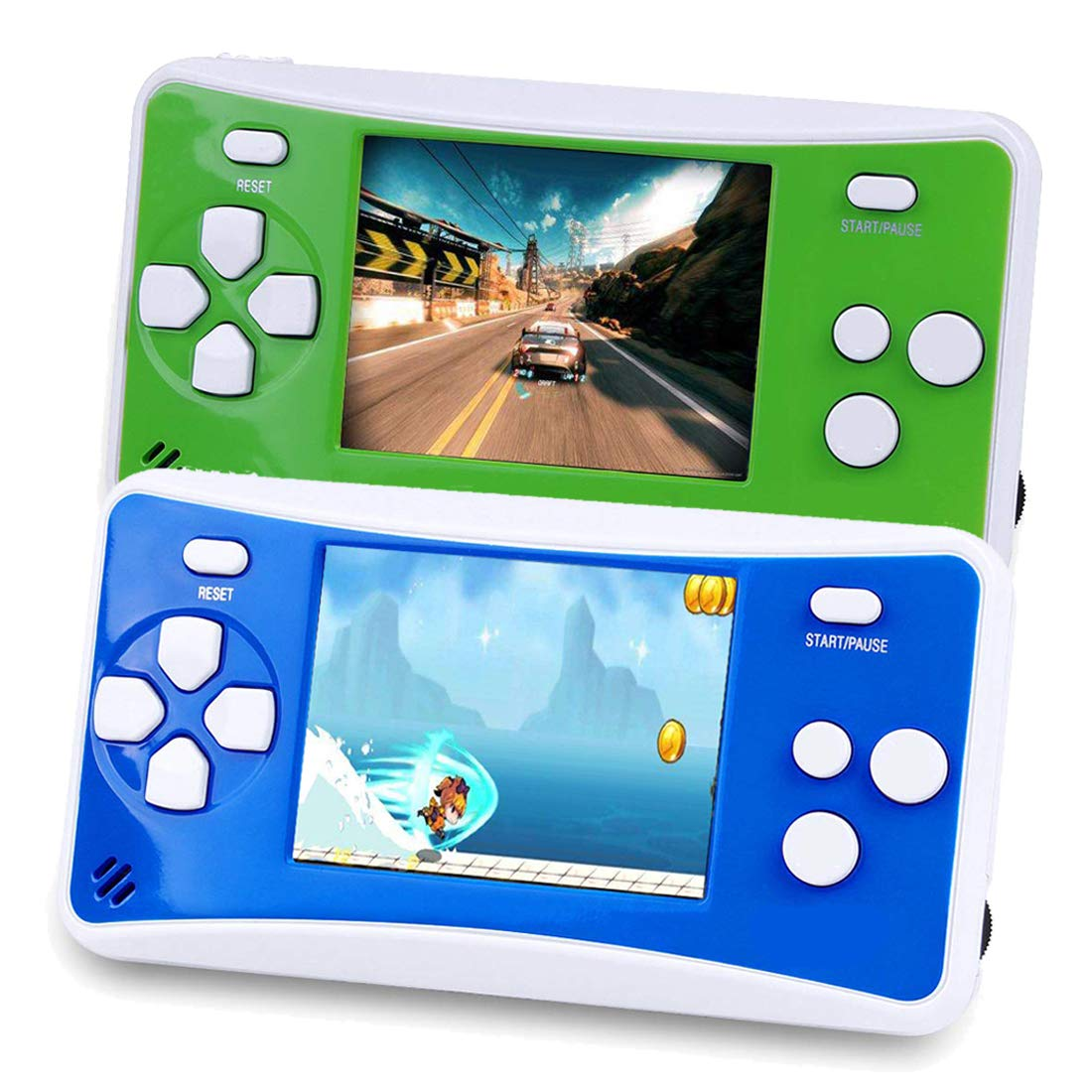 2 Packs Handheld Game Console for Children,The 80's Arcade Retro Game Player with 2.5'' 8-Bit LCD Portable Video Games Can Connected TV,Built-in 152 Classic Old School Game(Green and Blue) by Sokolp (Image #1)