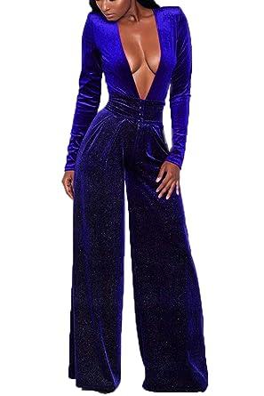 d4c1116743fe Women Vogue Deep V Neck Jumpsuit Full Length Pants Palazzo Playsuit   Amazon.co.uk  Clothing