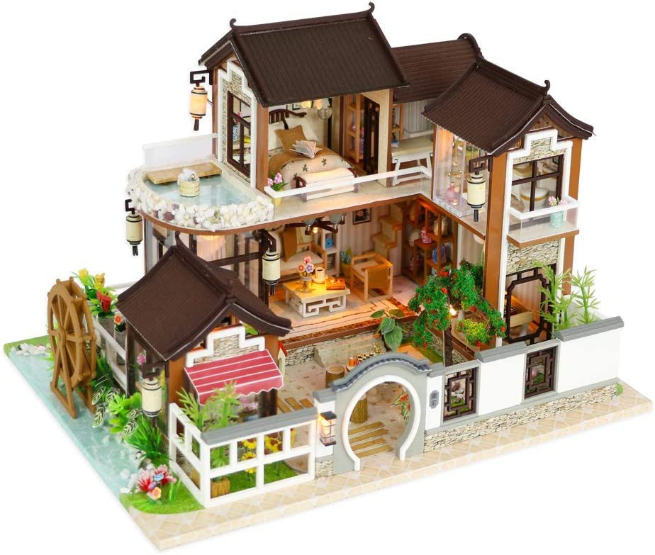 Flever Wooden DIY Dollhouse Kit, 1:24 Scale Miniature with Furniture, Dust Proof Cover and Music Movement, Creative Craft Gift for Lovers and Friends (Dream Back to Ancient Town)