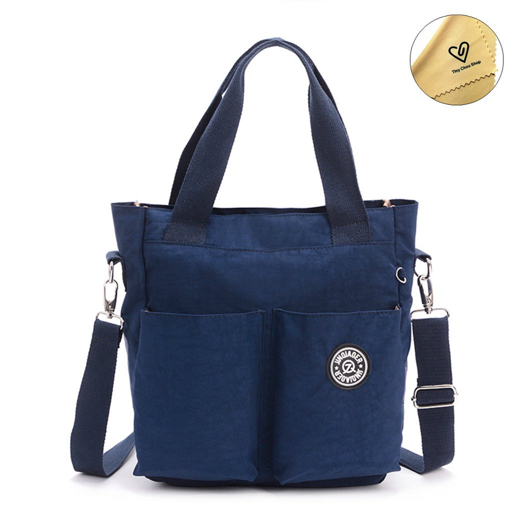 Tiny Chou Water Resistant Nylon Tote Style Handbag Cross body Bag Lightweight Mommy Bag-Navy Blue