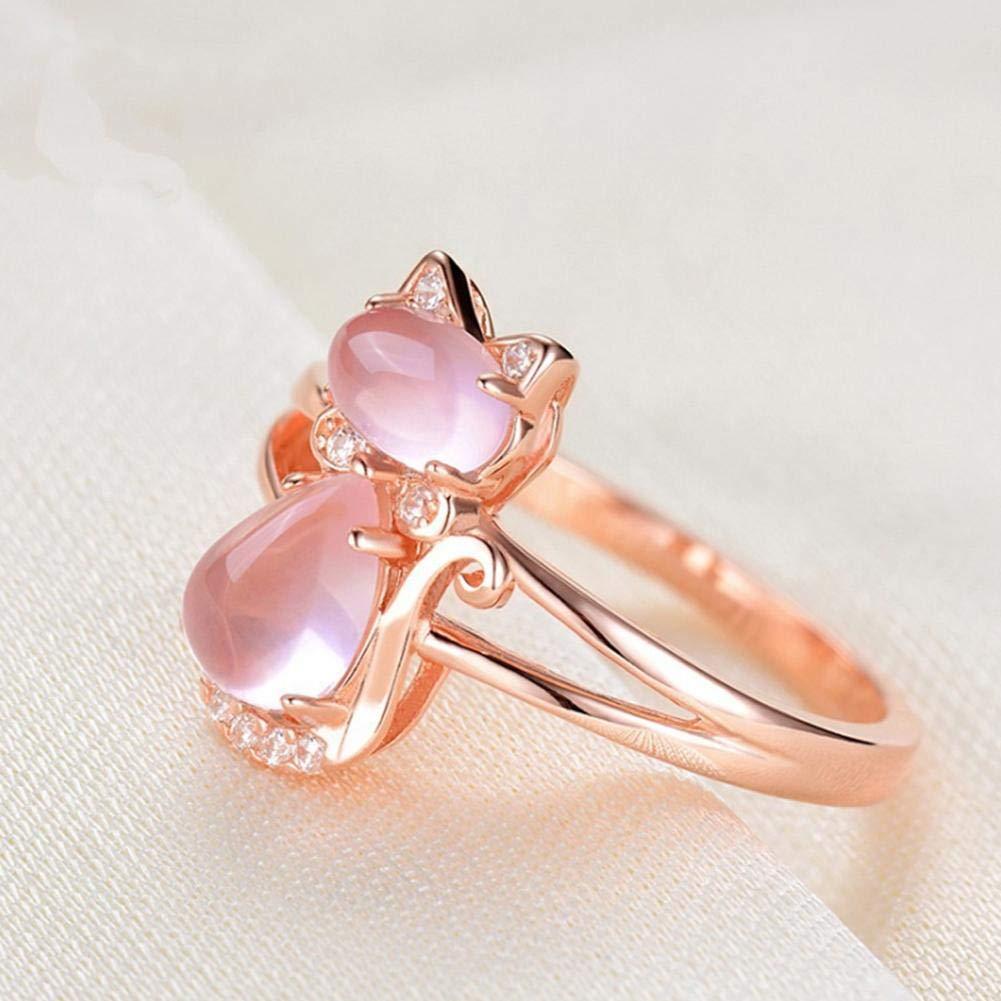 Heitaisi Rose Golden Crystal Finger Ring Bridal Engagement Wedding Ring Jewelry for Women Girl Lover