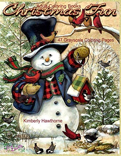 Adult Coloring Books Christmas Fun 47 Grayscale Coloring Pages: Beautiful grayscale images of Winter Christmas holiday scenes, Santa, reindeer, elves, snow, holiday decorations, Christmas tree -