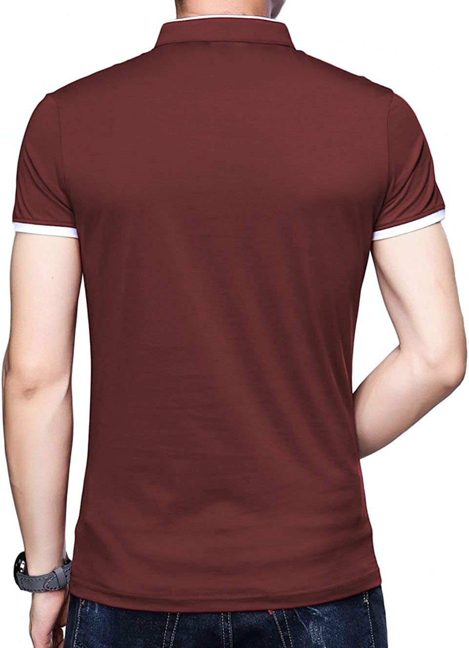 BITLIVE Mens Casual Slim Fit Short Sleeve Polo T-Shirts Cotton Shirts with Fake Pocket