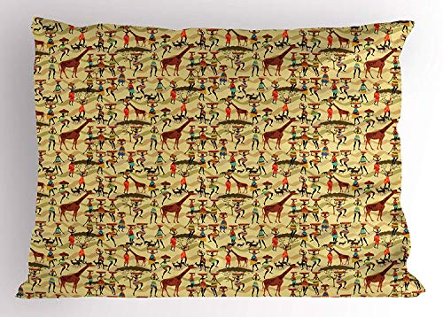 K0k2t0 Africa Pillow Sham, Woman Silhouette with Colorful Clothes and Pots Deer Oriental Culture Inspirations, Decorative Standard Queen Size Printed Pillowcase, 30 X 20 inches, Multicolor