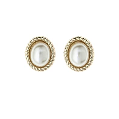 fd9f1c313 9ct Yellow Gold Oval large pearl with rope edging Andralok stud earrings / Gift  box: Amazon.co.uk: Jewellery