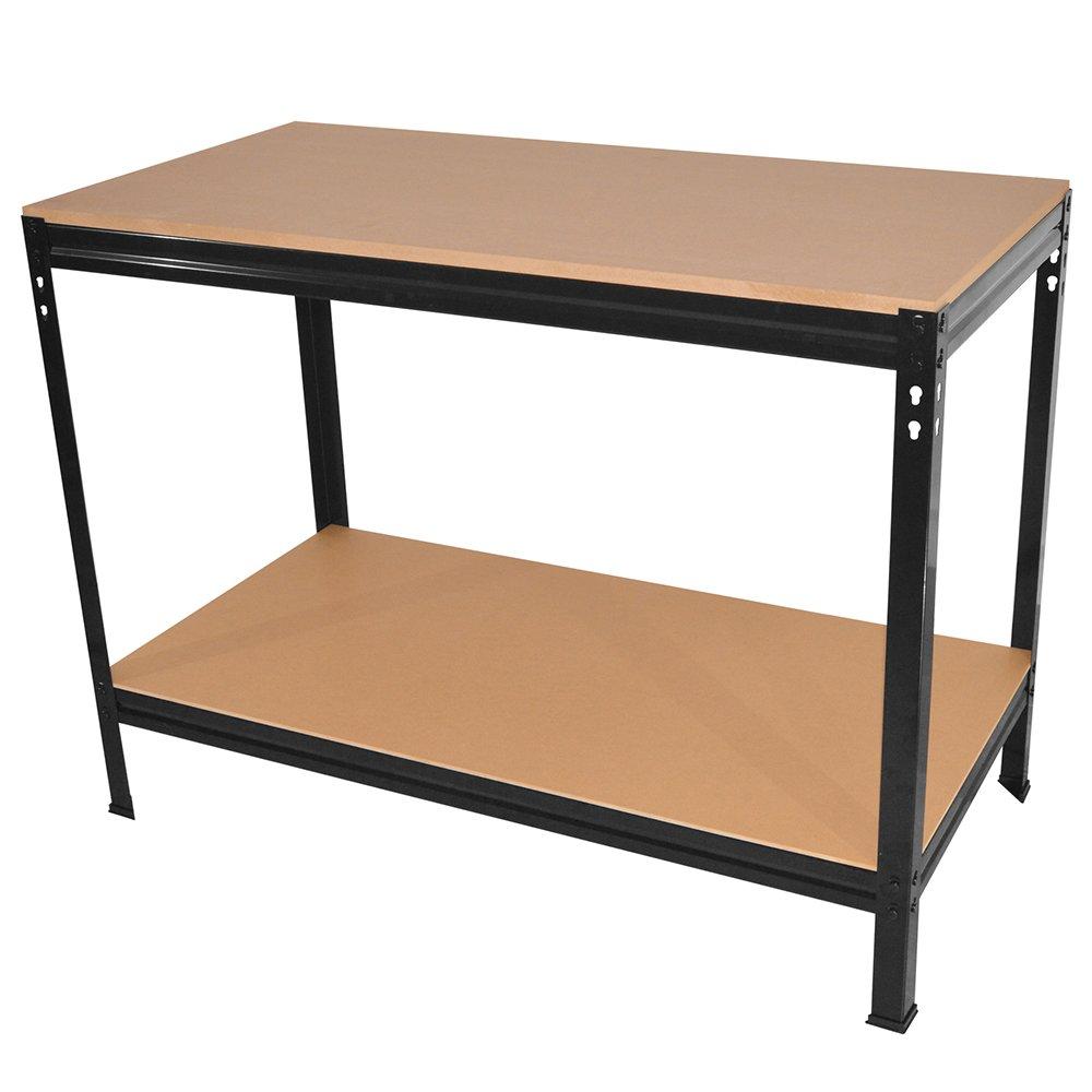 Wolf Heavy Duty Steel Boltless Workbench 2 Tier Work Table - 1210x610x910 - Max 200kg - 19mm Top