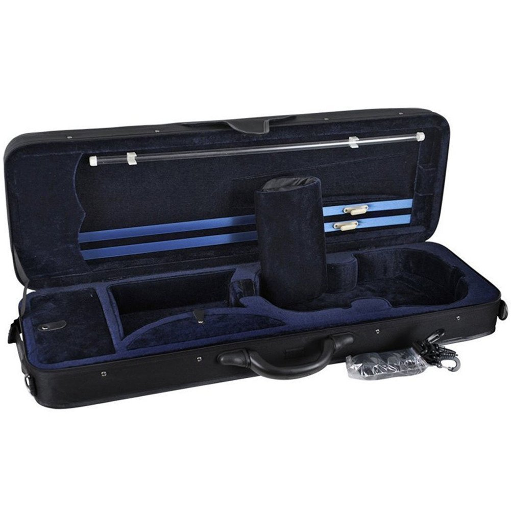 ADM 4/4 Full Size Professional Oblong Light Suspension Violin Carry Hard Case with Secure Latch HL12-44