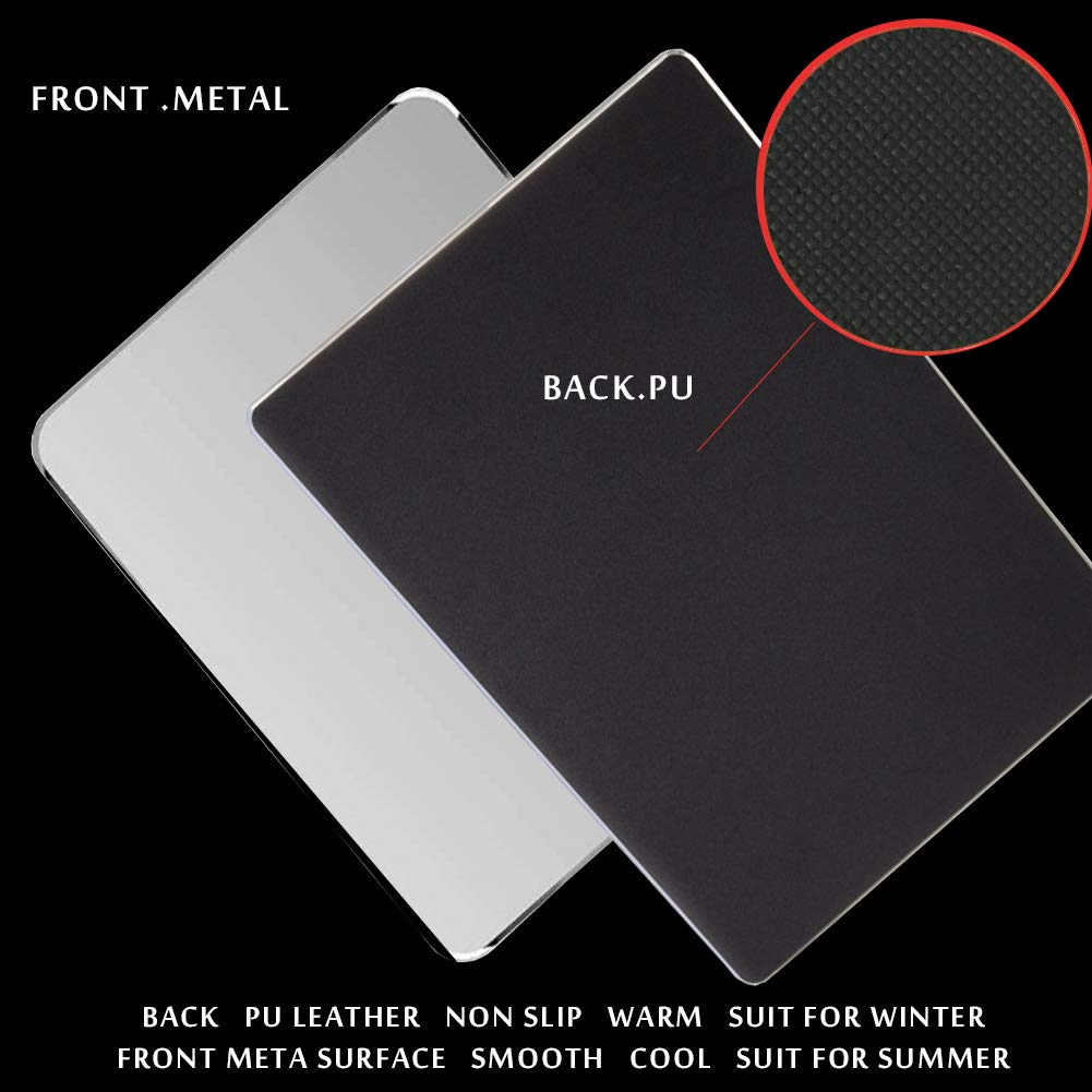 Silver HOTSO Mouse Pad Mat Aluminium Smooth Surface Non-slip Rubber Base and Frosted Smooth Hard Surface Water Resistant 220x180mm 8.7 Retangle Metal Mouse Mat for PC Computer Laptop
