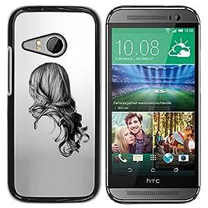For HTC ONE MINI 2 / M8 MINI Case , Girl Black White Drawing Minimalist - Diseño Patrón Teléfono Caso Cubierta Case Bumper Duro Protección Case Cover Funda