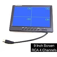 "9"" TFT LCD Quad Split Monitor for Auto Truck CCTV Surveillance, Remote Control, 4 Channels RCA Video Inputs - 12V-24V…"