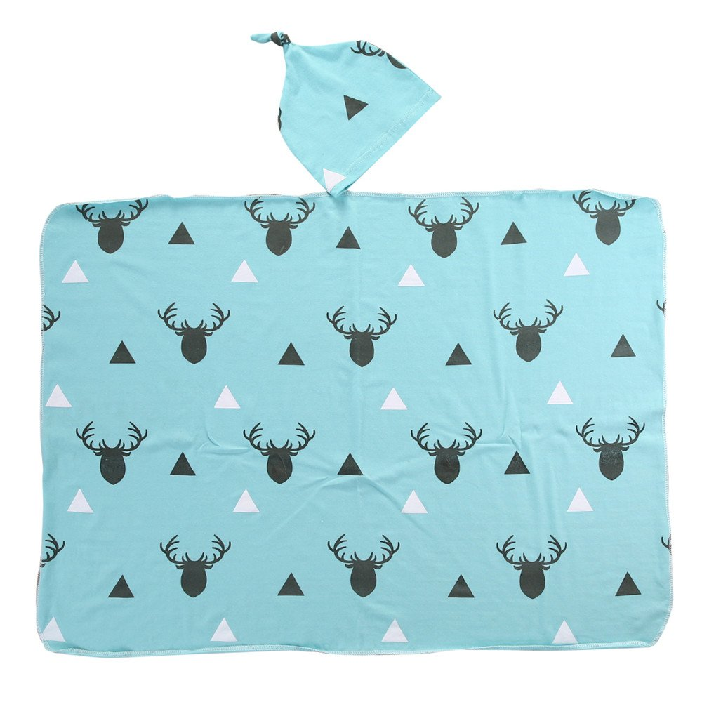 Mikrdoo Newborn Infant Baby Boy Girl Deer Swaddle Blanket +Hat Boy Coming Home Cotton Bath Towel (Blue)