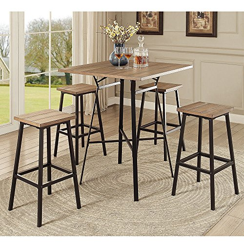 1PerfectChoice Dora Industrial Bar Dining Set Square Wood Table Barstool Stool Gray Oak Metal