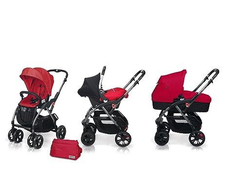 Casualplay 886106B - Cochecito Avant + portabebés Baby 0+ + capazo Metropol, color rojo