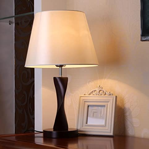 Merveilleux White Modern Creative Wood Table Lamp Push Button Switch Fabric Shade Desk  Lamps