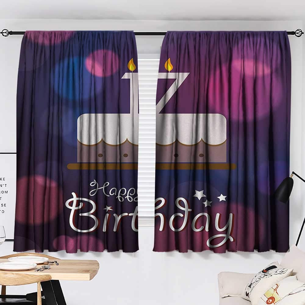 Jinguizi 17th Birthday Two Panels Seventeen Party Cake with Abstract Style Circles Artistic Print Printed Darkening Curtains Lilac Purple and Pink W55 x L39 by Jinguizi (Image #2)