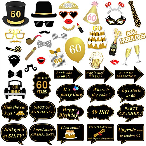 60th Birthday Party Photo Booth Props 51pcs For Her Him 60th