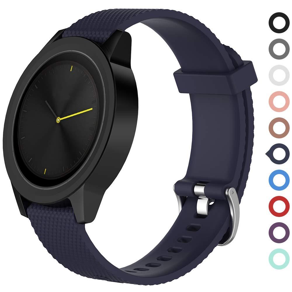 Meifox Compatible with Garmin Vivomove HR Bands,Solf Silicone Replacement Band for Garmin Vivomove HR Premium Sport Watch (Navy Blue, Premium Large)