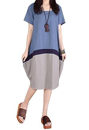 901f95873d P Ammy Fashion Women s Color Spliced Cotton   Linen Oversized Shirt Dress  Blue Size UK 10