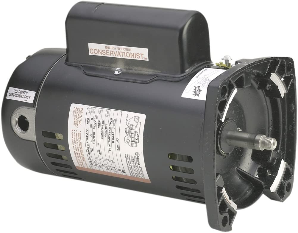 A.O. Smith SQ1202 2 HP, 3450 RPM, 48Y Frame, Capacitor Start/Capacitor Run, ODP Enclosure, Square Flange Pool Motor