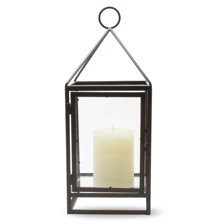 Brown Metal & Glass Framework Candle Lantern