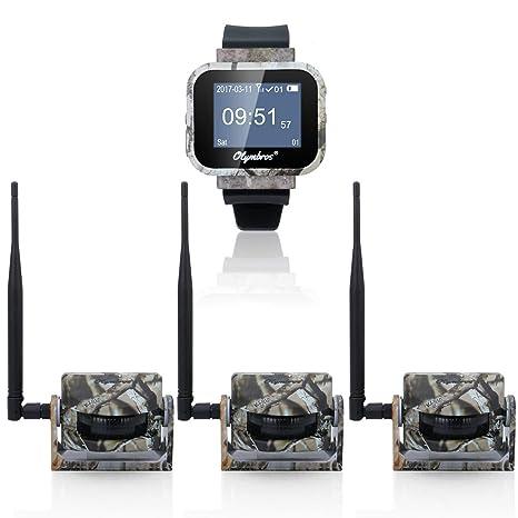 Olymbros Inalámbrico Sistema Alarma Caza 360 ° 200M Alarma Seguridad con 3 Detectores Medio Trigger Sonido