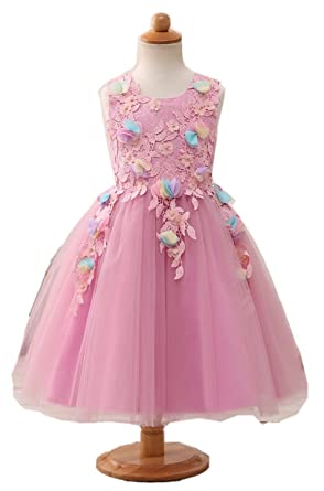 Amazoncom Darcy74dulles Girlselegant Flower Girl Rose Dress For