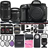 Canon EOS 7D Mark II Digital SLR Camera with EF-S 18-55mm f/3.5-5.6 IS STM Lens + EF-S 55-250mm f/4-5.6 IS STM Lens + 2Pcs 32GB SD Memory + Automatic Flash + Filter & Macro Kits + MUCH MORE!