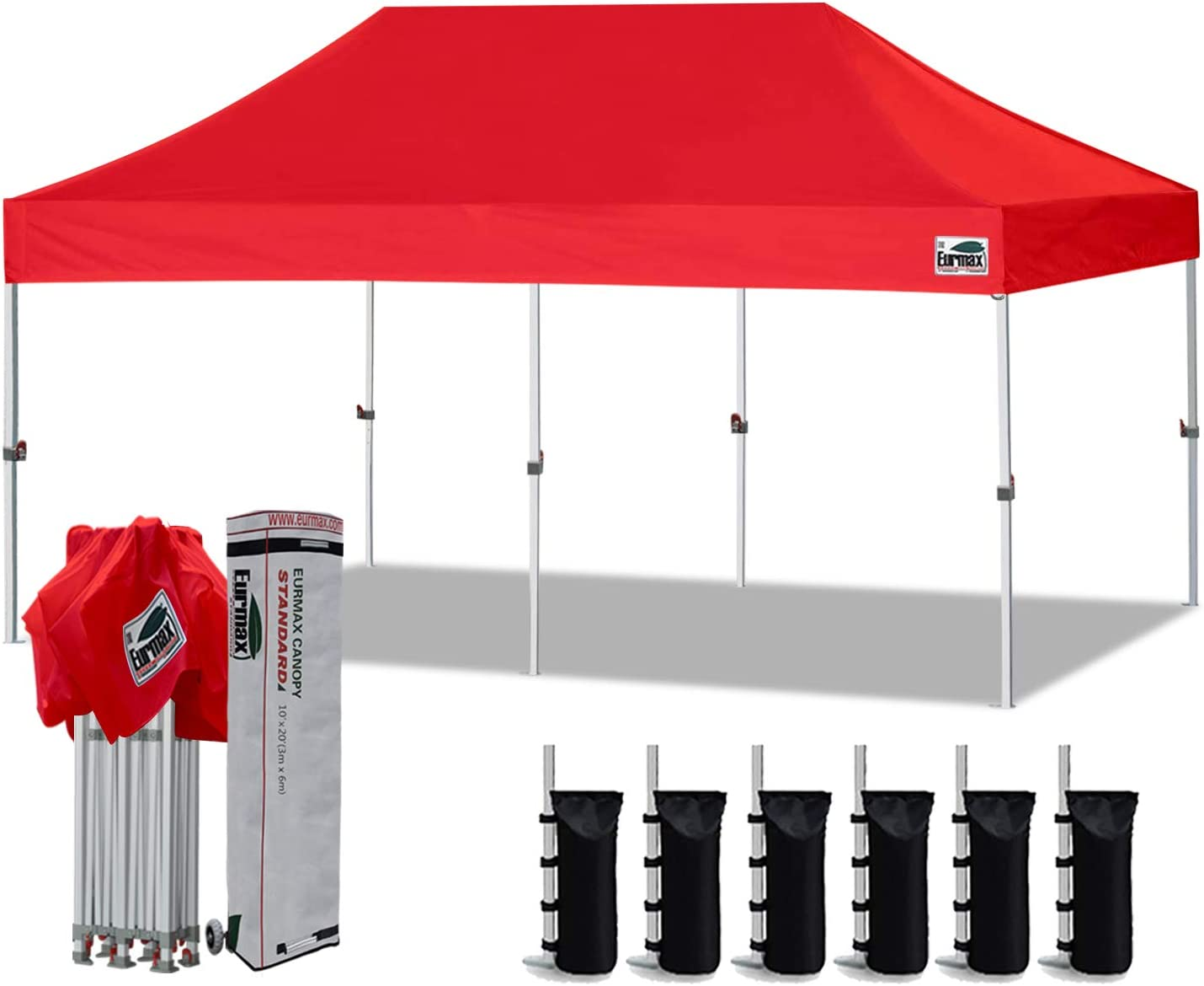 Eurmax 10 x20 Ez Pop Up Canopy Tent Commercial Instant Canopies with Heavy Duty Roller Bag,Bonus 6 Sand Weights Bags Red
