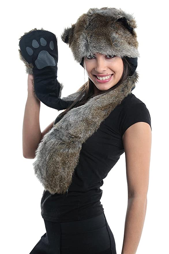 b338d190321 Amazon.com  Wolf Full Hood 3in1 Hat Scarf Mittens Faux Fur with Fleece  Lining  Toys   Games