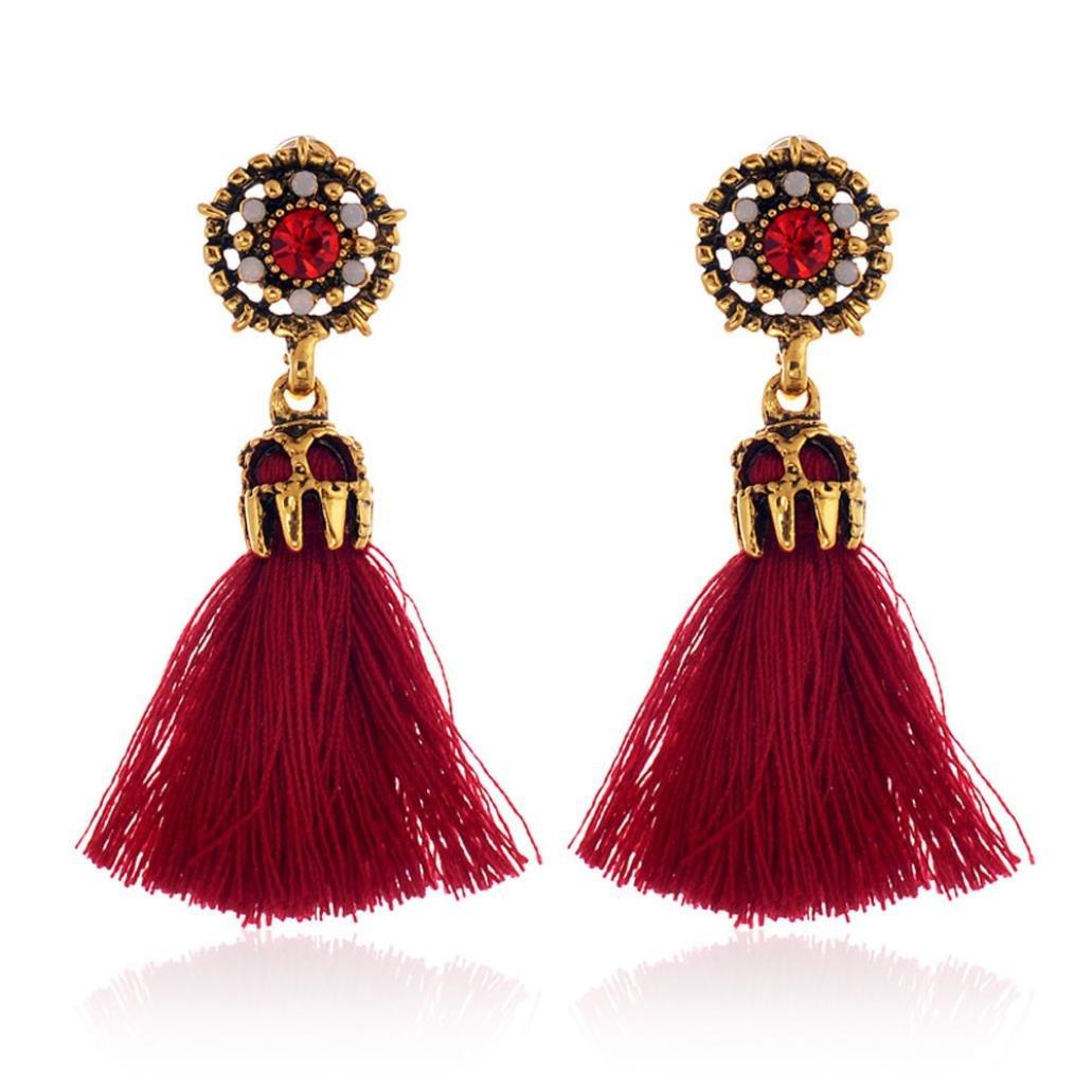 Tassel Earrings, Perman Ear Studs Fashion Elegant Vintage Tassel Drop Dangling Earrings