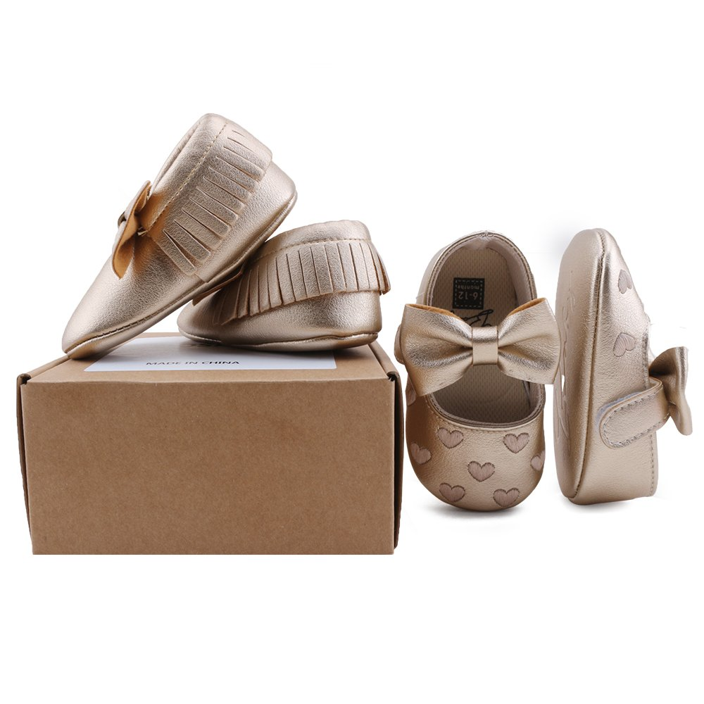 OOSAKU Infant Toddler Baby Soft Sole PU Leather Bowknots Shoes (12-18 Months, Gold+Gold A) by OOSAKU (Image #6)