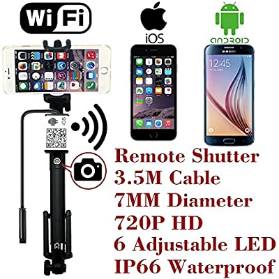 Upgraded Wifi Wireless Endoscope Built-in Remote Shutter Borescope 7mm 2MP 6LED 720P IP66 Tube Waterproof Snake Inspection Camera System, for iphone iOS ipad Samsung Android Smartphone by AttoPro-3.5M by AttoPro Direct