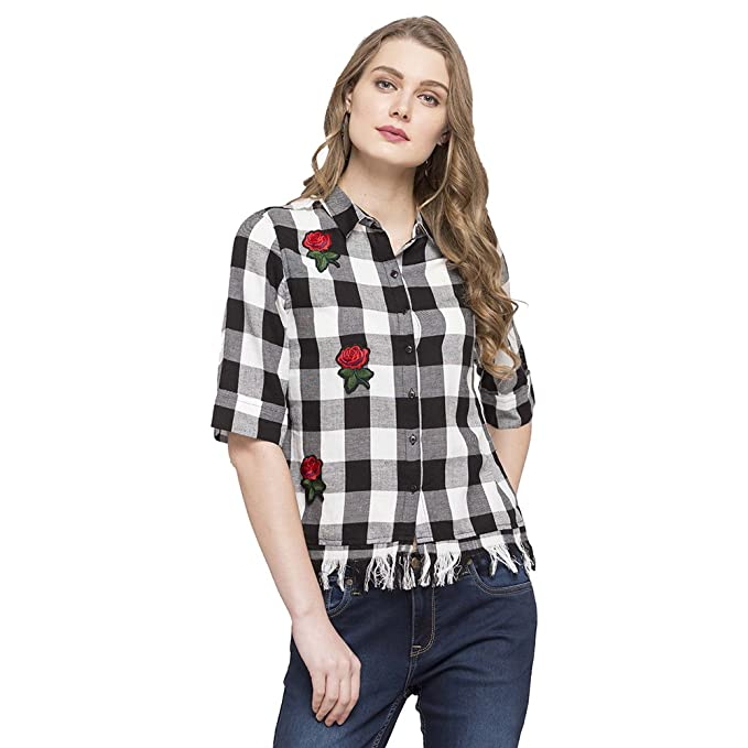 f26bca9bb1cbd Life by Shoppers Stop Womens Collared Applique Check  Shirt Black X-Large 203507845 9212