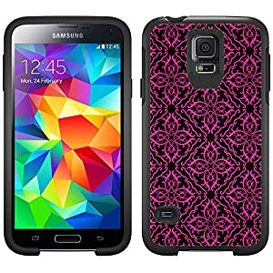 Skin Decal for Otterbox Symmetry Samsung Galaxy S5 Case - Victorian Royalty Pink on Black