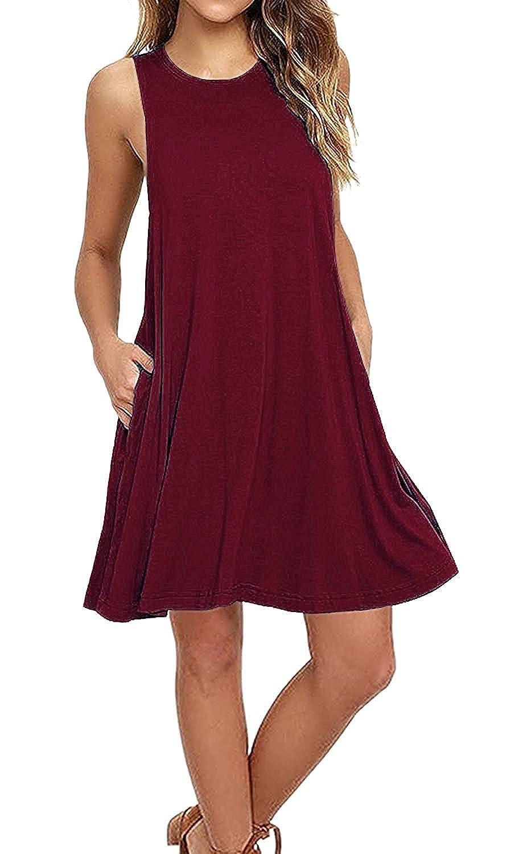 e97ec5d1876 Women Sleeveless Pockets Casual T-shirt Loose Tank Top Dress Swing Dresses  S-XXL at Amazon Women s Clothing store