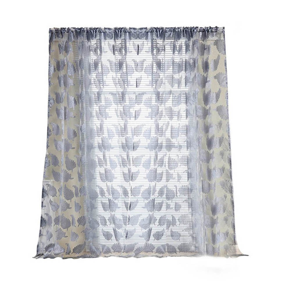 Window Curtain, Panels, Leaf Printed Feathers Screens Living Room Leaf Tulle Curtain by TTnight