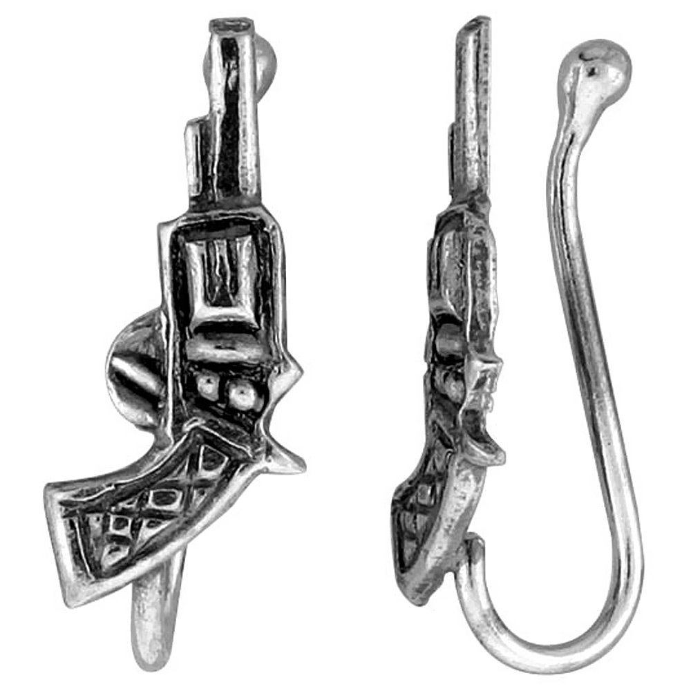 Small Sterling Silver Gun Nose Ring / Ear cuff Non-Pierced (one piece) 5/8 inch